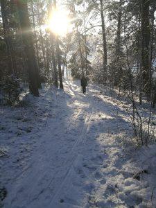 Anställd som går i snö   Rygginstitutet